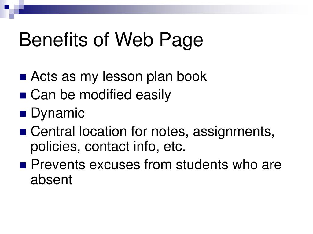 Benefits of Web Page