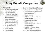 army benefit comparison