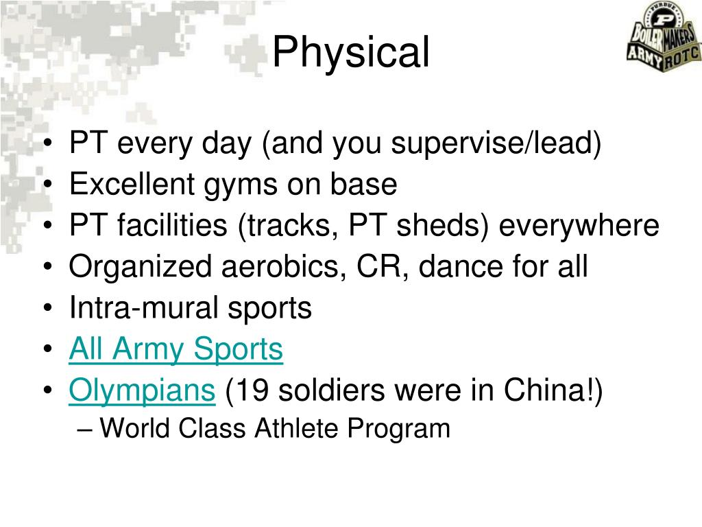 PT every day (and you supervise/lead)