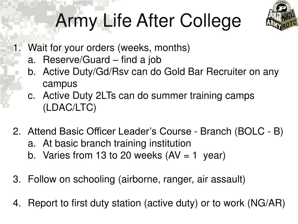 Army Life After College