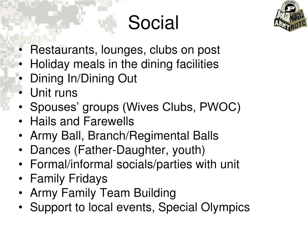 Restaurants, lounges, clubs on post