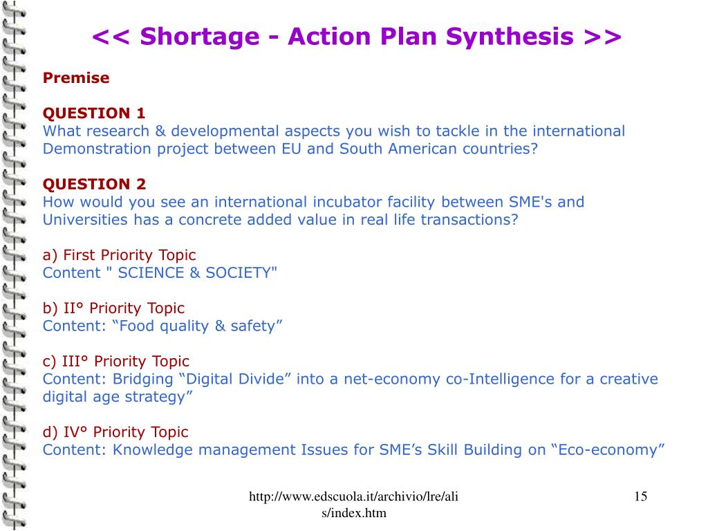 << Shortage - Action Plan Synthesis >>