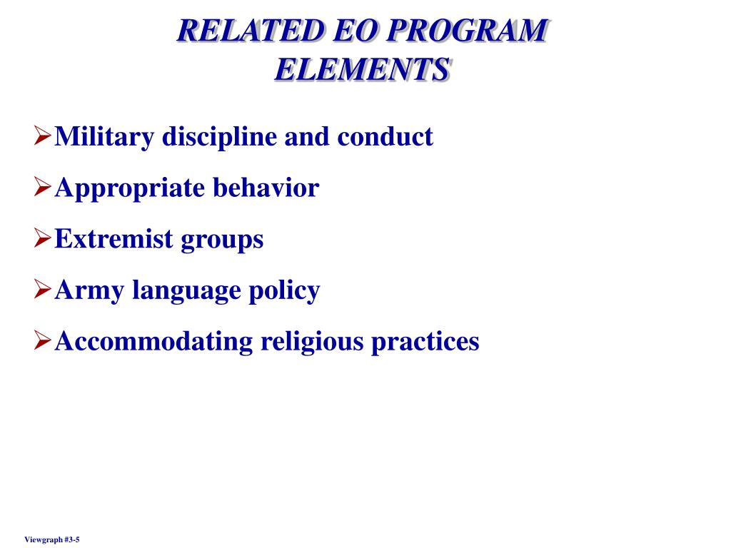 RELATED EO PROGRAM  ELEMENTS