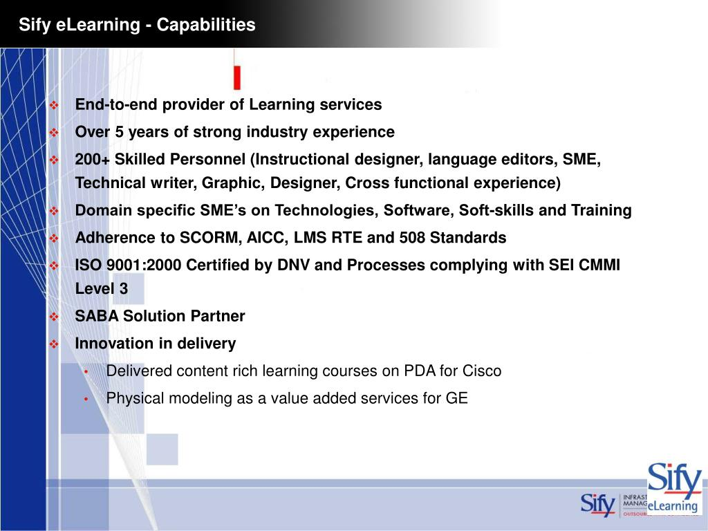 Sify eLearning - Capabilities