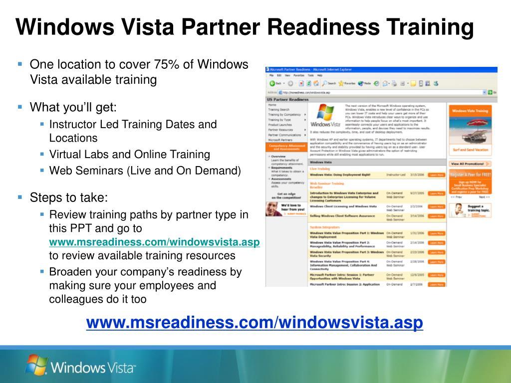 Windows Vista Partner Readiness Training