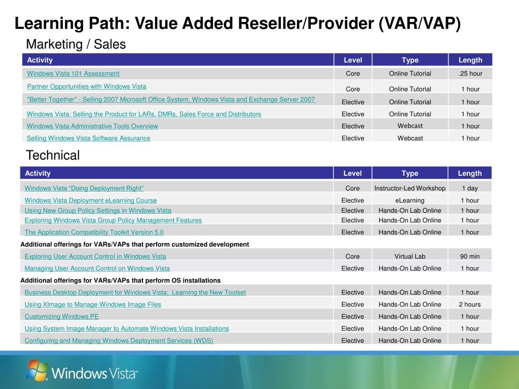 Learning Path: Value Added Reseller/Provider (VAR/VAP)