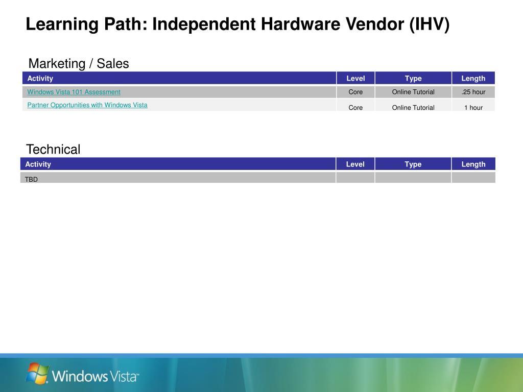 Learning Path: Independent Hardware Vendor (IHV)