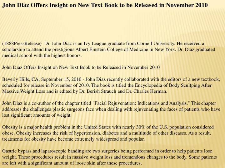 John Diaz Offers Insight on New Text Book to be Released in November 2010