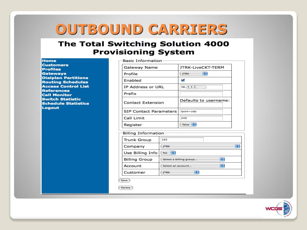 OUTBOUND CARRIERS