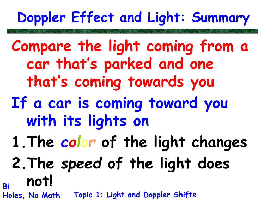 Doppler Effect and Light: Summary