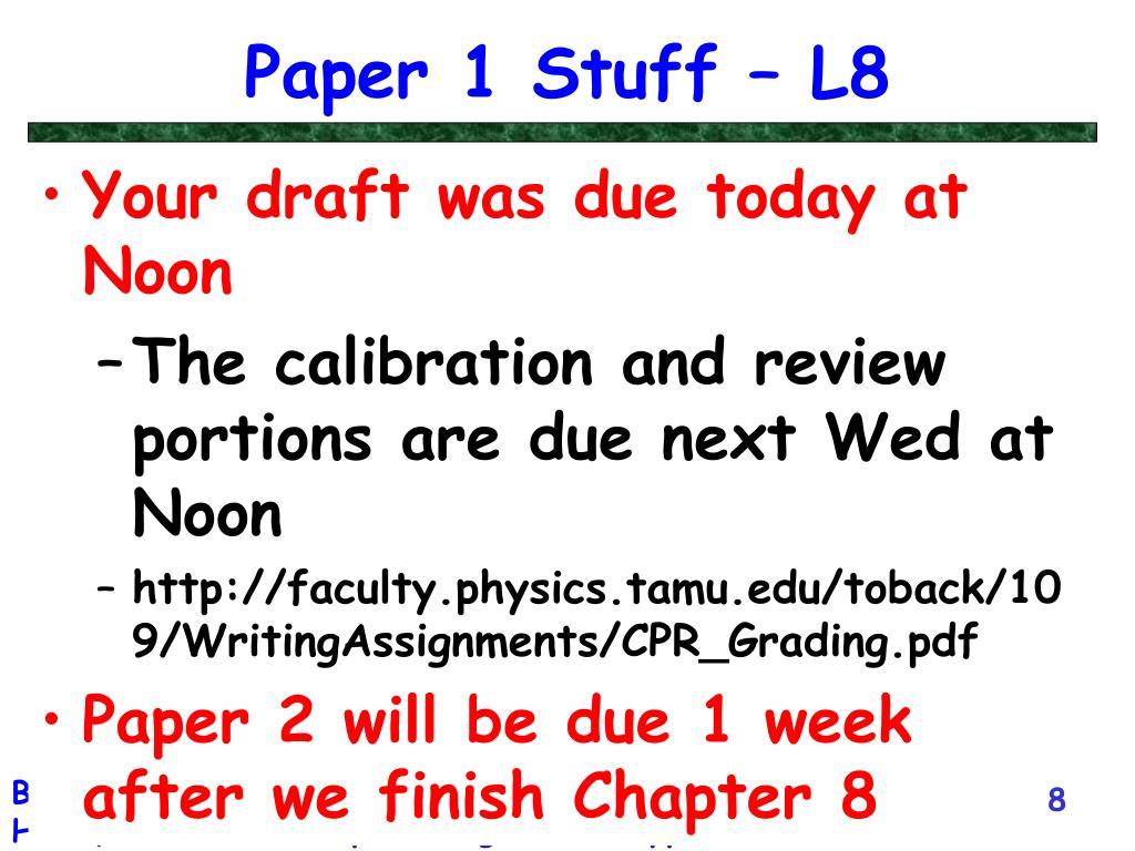 Paper 1 Stuff – L8