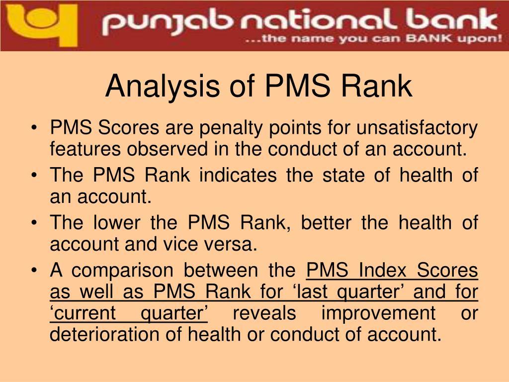 Analysis of PMS Rank