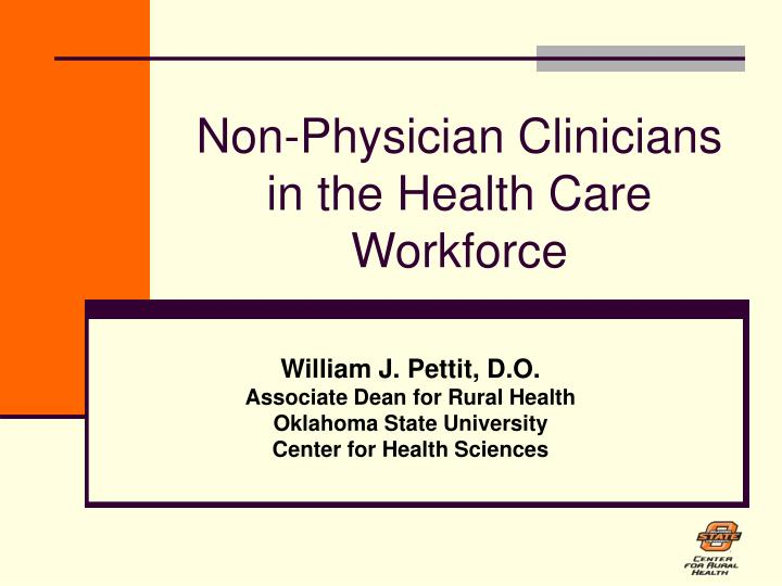 Non physician clinicians in the health care workforce
