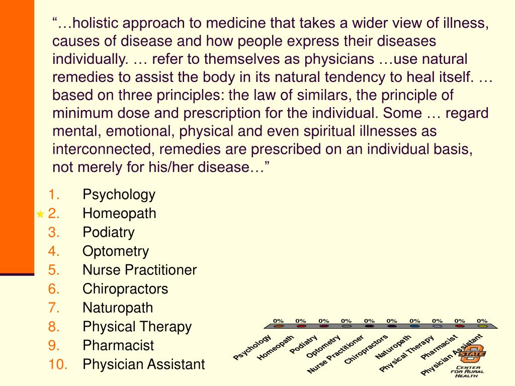 """…holistic approach to medicine that takes a wider view of illness, causes of disease and how people express their diseases individually. … refer to themselves as physicians …use natural remedies to assist the body in its natural tendency to heal itself. … based on three principles: the law of similars, the principle of minimum dose and prescription for the individual. Some … regard mental, emotional, physical and even spiritual illnesses as interconnected, remedies are prescribed on an individual basis, not merely for his/her disease…"""