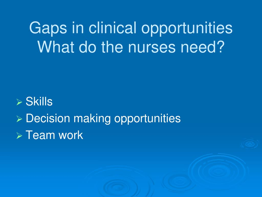 Gaps in clinical opportunities