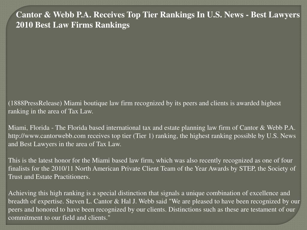 Cantor & Webb P.A. Receives Top Tier Rankings In U.S. News - Best Lawyers 2010 Best Law Firms Rankings