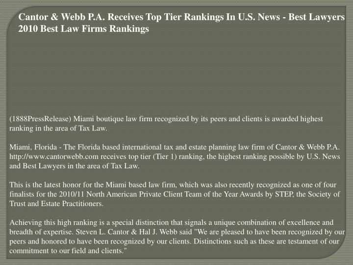 Cantor & Webb P.A. Receives Top Tier Rankings In U.S. News - Best Lawyers 2010 Best Law Firms Rankin...