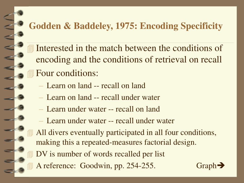 Godden & Baddeley, 1975: Encoding Specificity