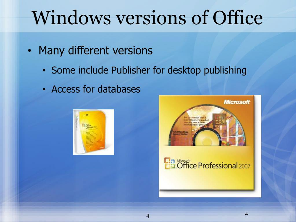 Windows versions of Office
