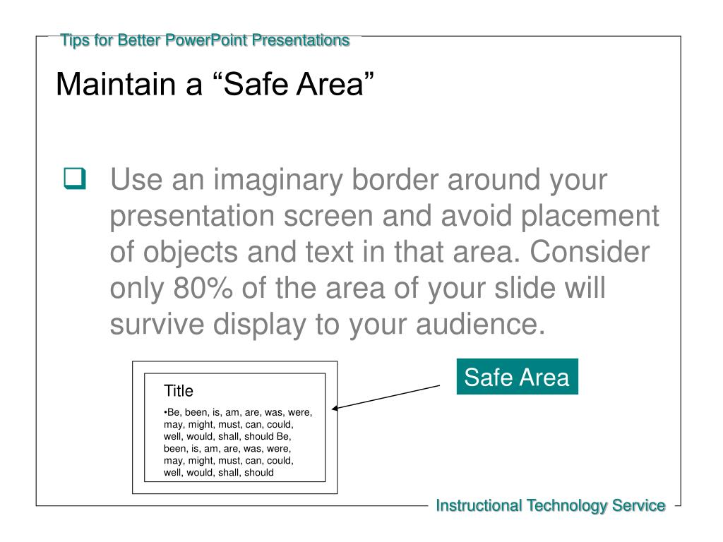 "Maintain a ""Safe Area"""