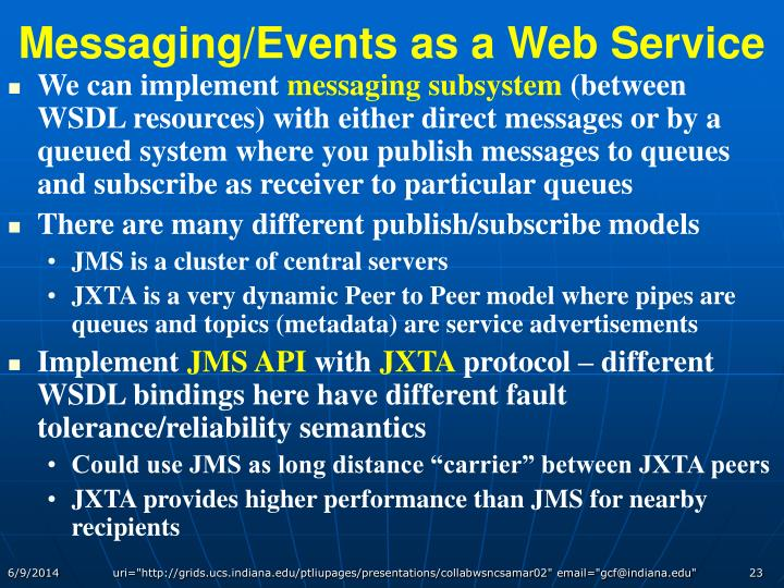 Messaging/Events as a Web Service