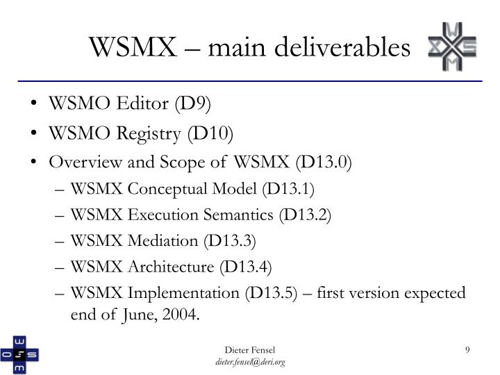 WSMX – main deliverables