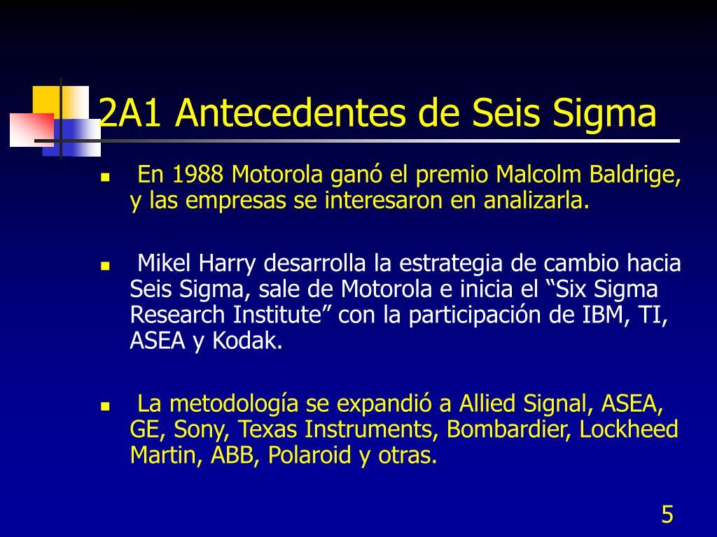 2A1 Antecedentes de Seis Sigma
