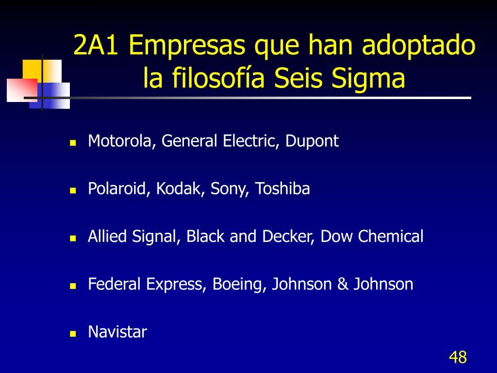 2A1 Empresas que han adoptado la filosofía Seis Sigma