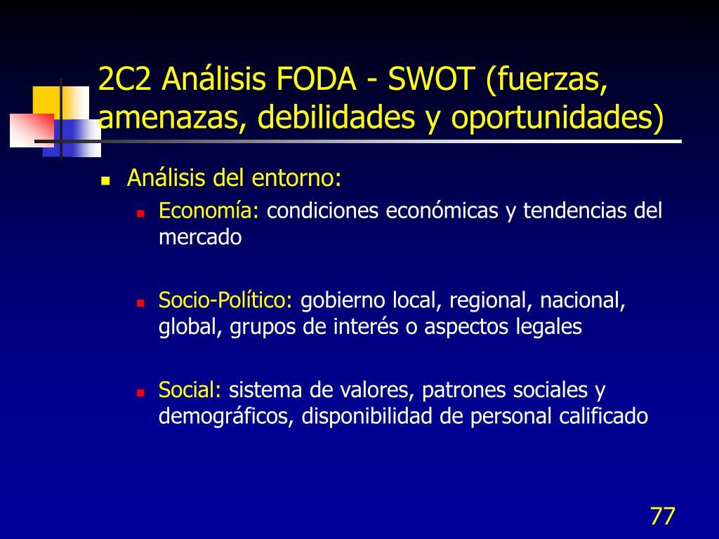 2C2 Análisis FODA - SWOT (fuerzas, amenazas, debilidades y oportunidades)