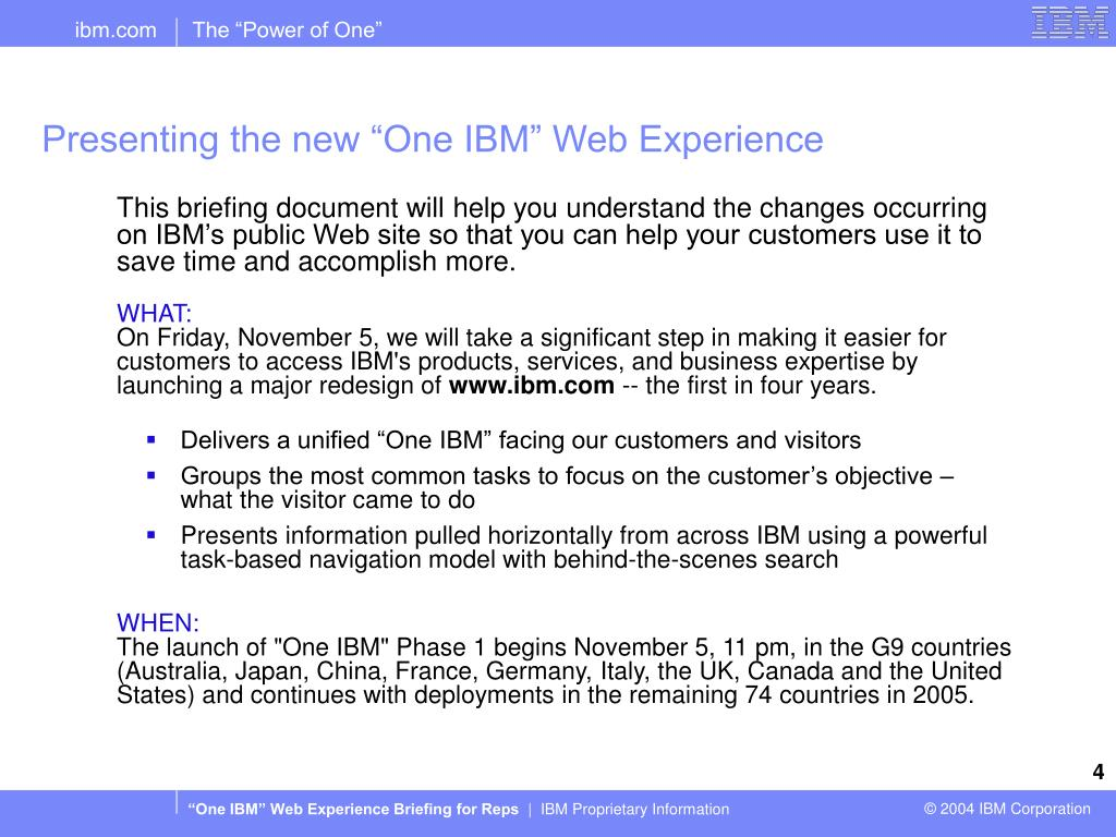 "Presenting the new ""One IBM"" Web Experience"