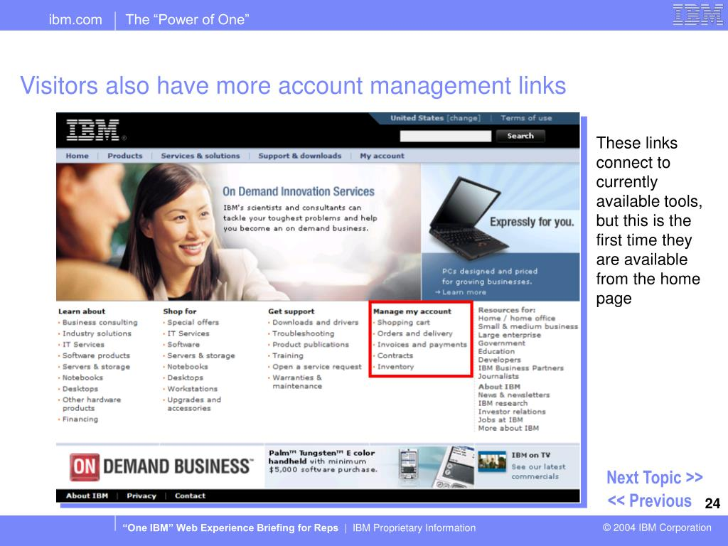 Visitors also have more account management links