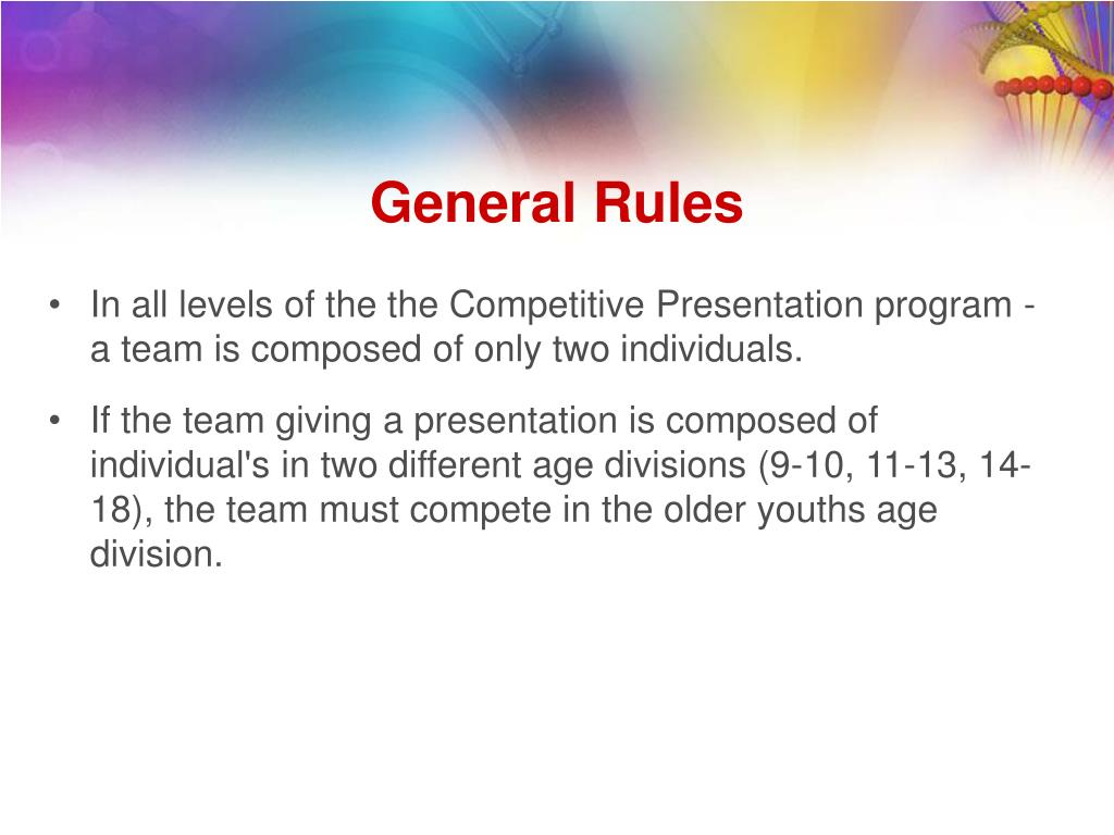 In all levels of the the Competitive Presentation program - a team is composed of only two individuals.
