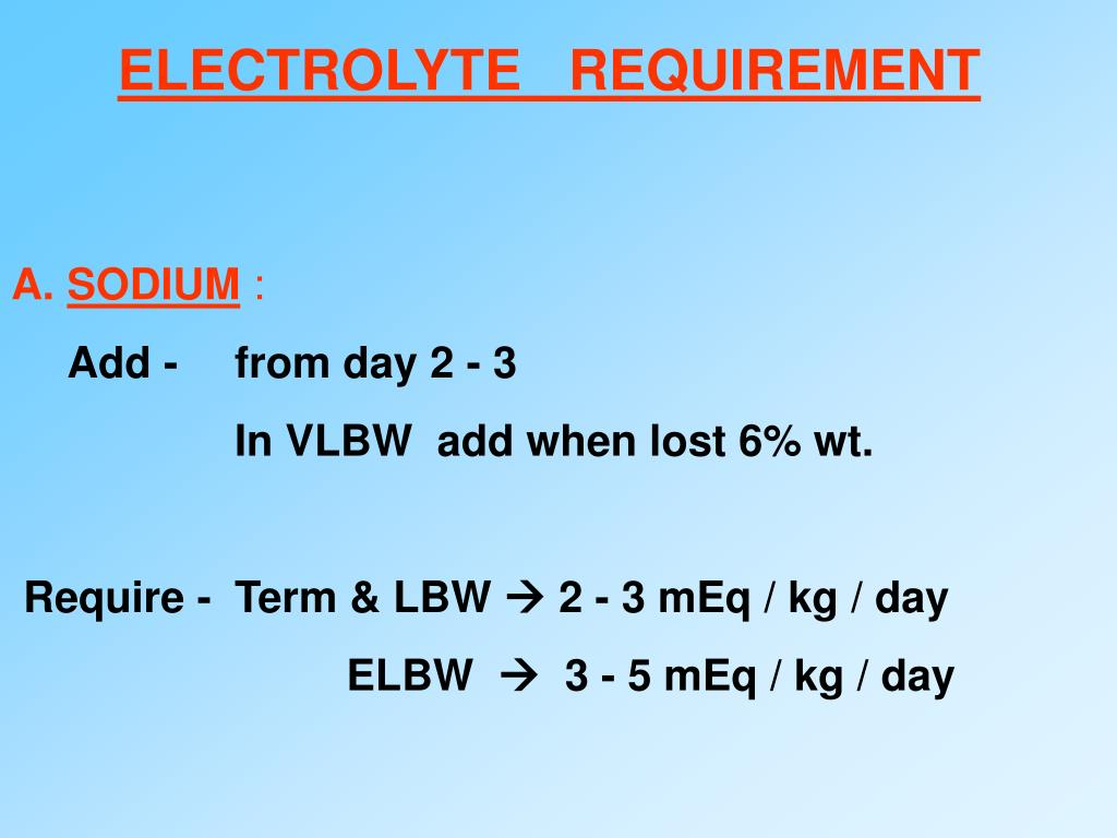 ELECTROLYTE   REQUIREMENT