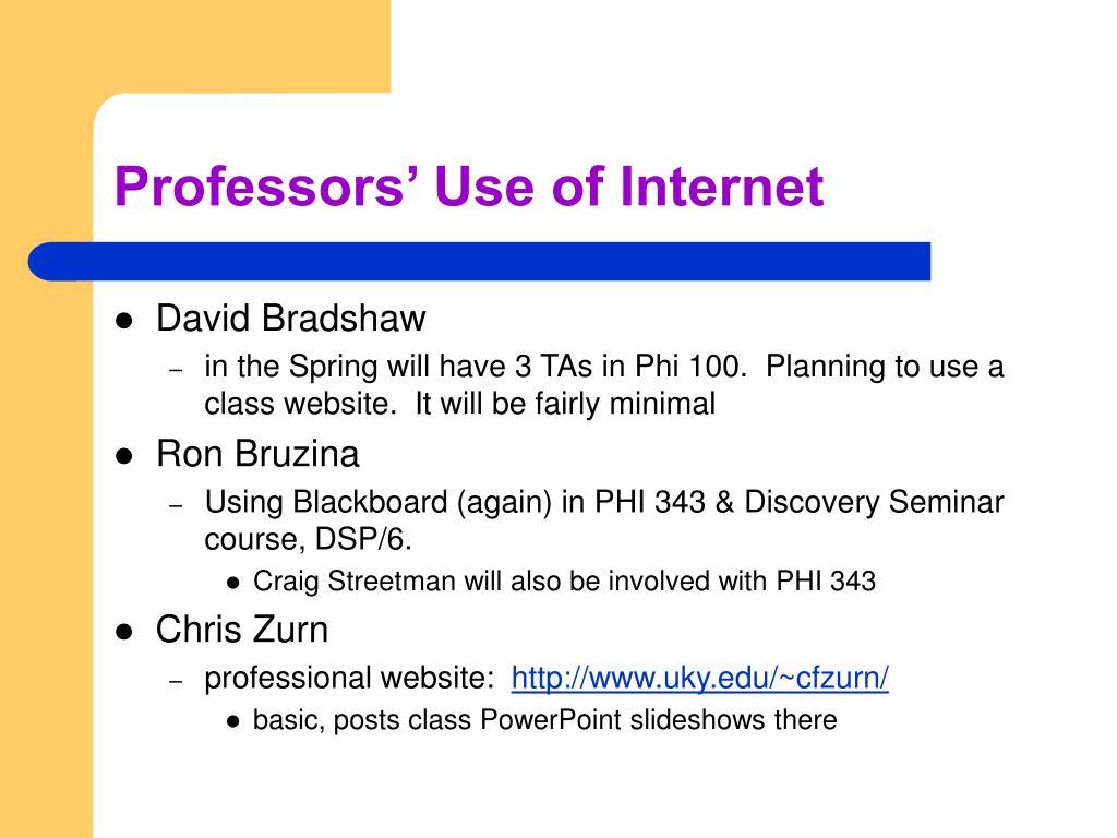 Professors' Use of Internet