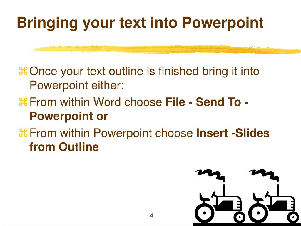 Bringing your text into Powerpoint
