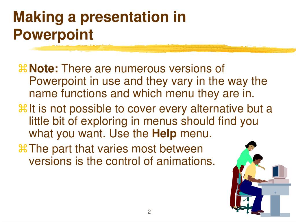 Making a presentation in Powerpoint