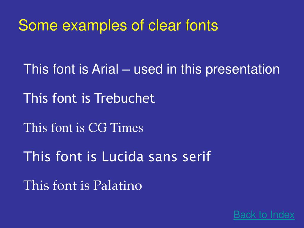 Some examples of clear fonts