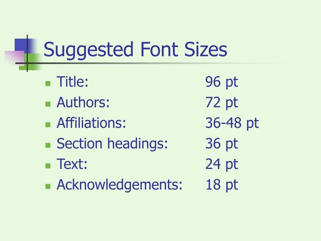 Suggested Font Sizes