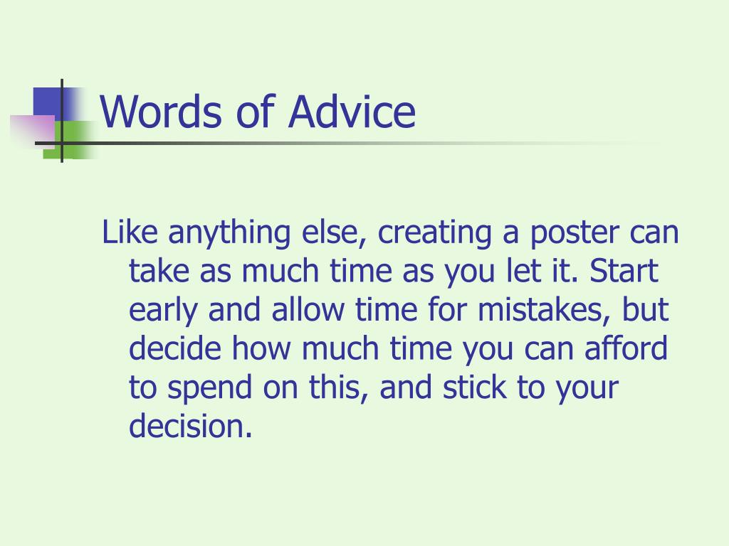 Words of Advice