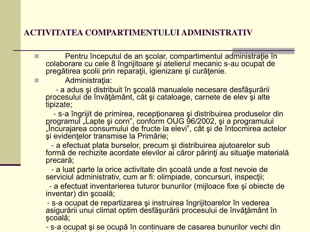 ACTIVITATEA COMPARTIMENTULUI