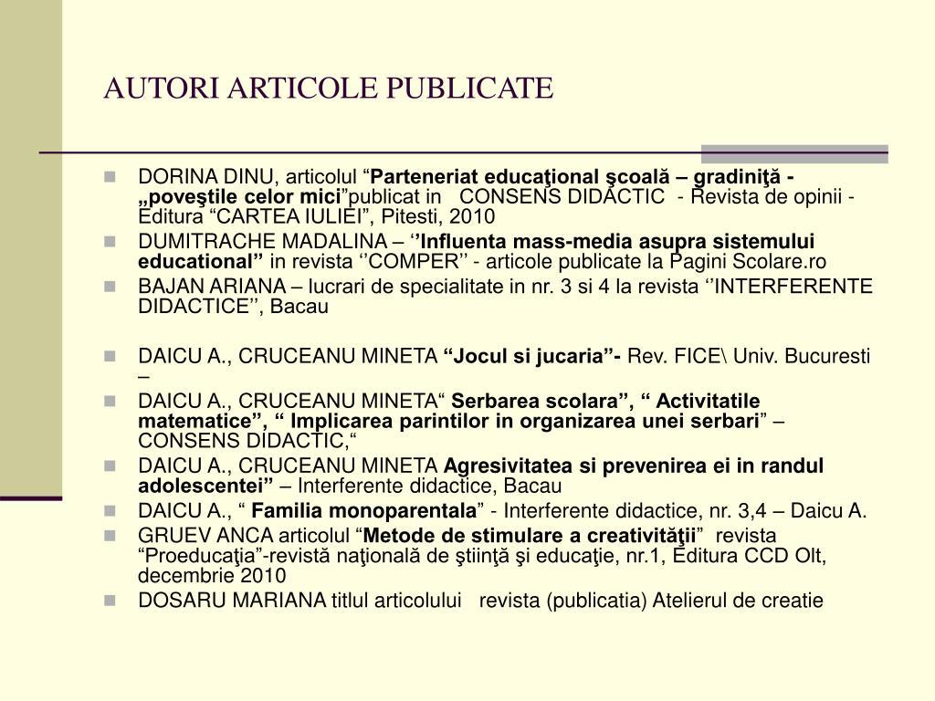 AUTORI ARTICOLE PUBLICATE