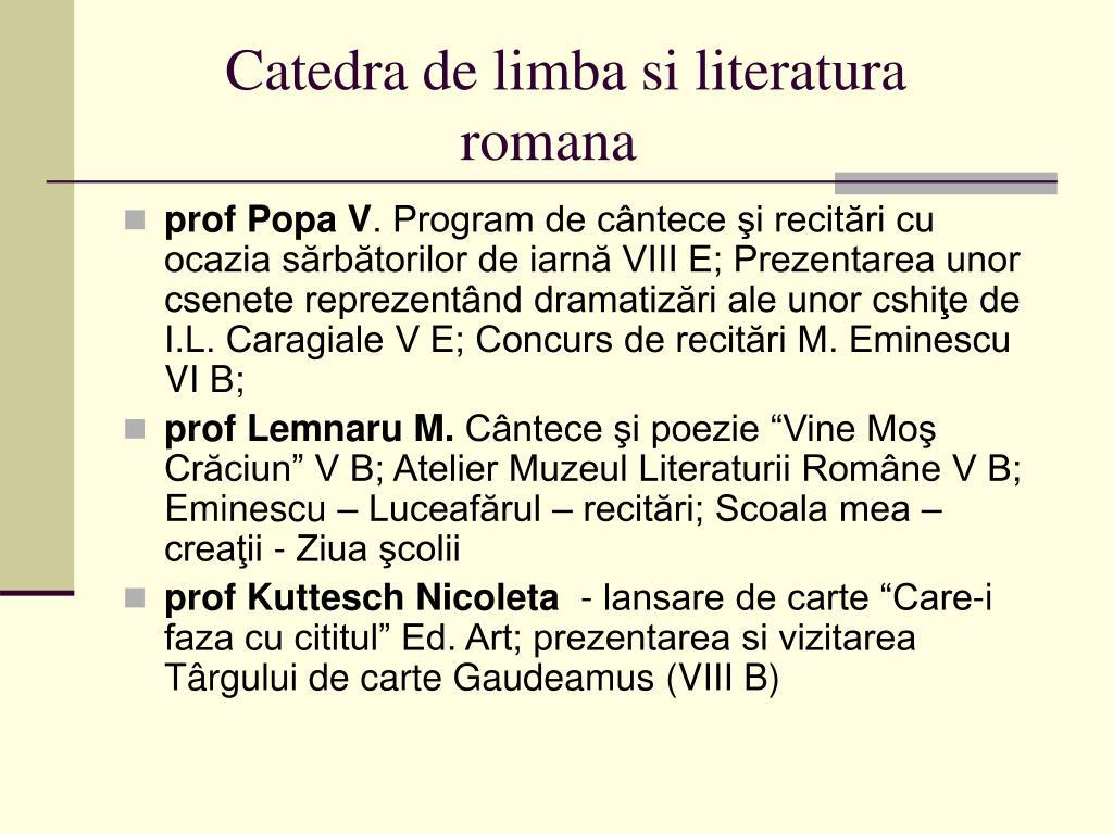 Catedra de limba si literatura