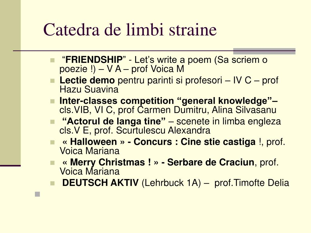Catedra de limbi straine