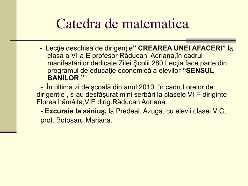 Catedra de matematica