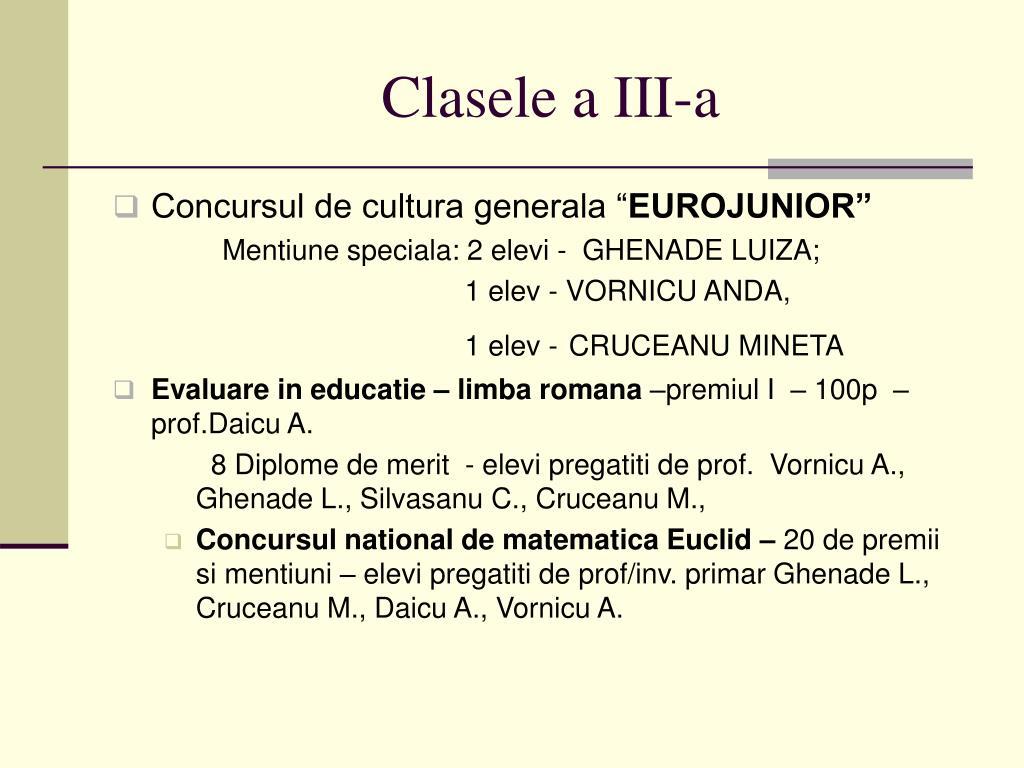 Clasele a III-a