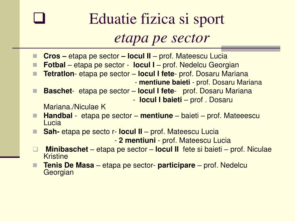 Eduatie fizica si sport