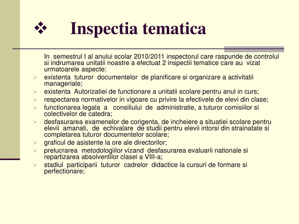 Inspectia tematica