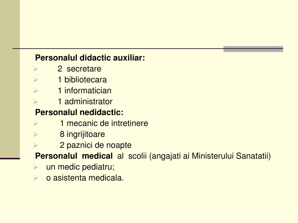 Personalul didactic auxiliar: