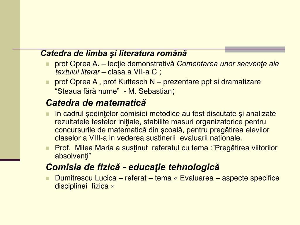 Catedra de limba şi literatura română