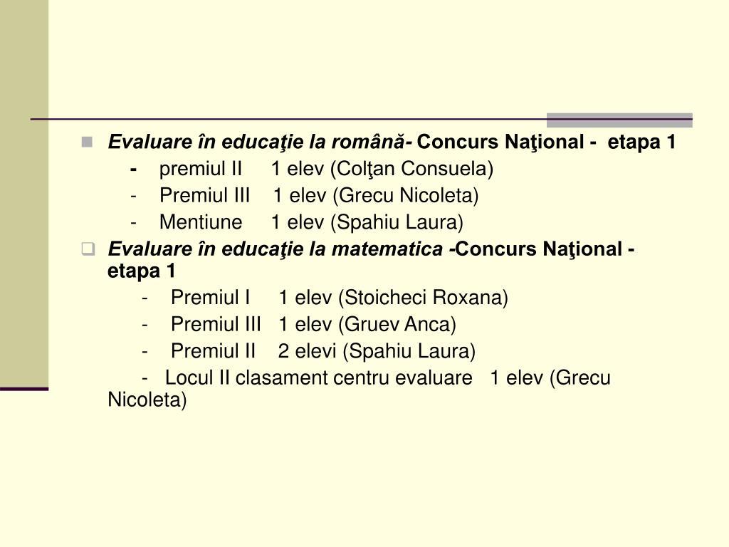 Evaluare în educaţie la română-